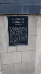 Historical plaque outside the Baskerville Apartments